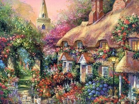"""Вышивка бисером """"Цветочный городок"""" (230х300 мм) — фото, картинка"""