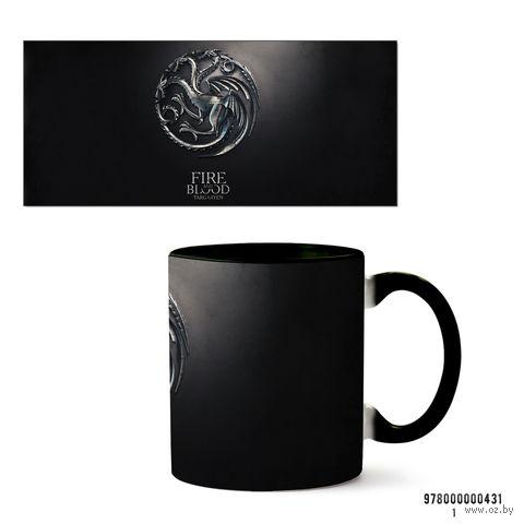 """Кружка """"Игра престолов. Fire and Blood. Targaryen"""" (черная) — фото, картинка"""