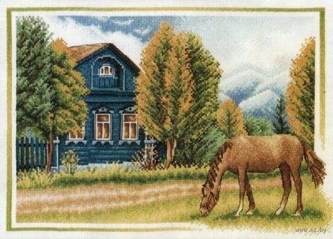 "Вышивка крестом ""Дедушкин дом"" (400x280 мм) — фото, картинка"