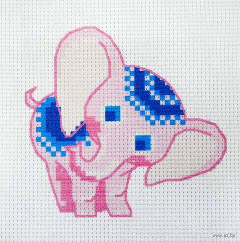"""Вышивка крестом """"Розовый слонёнок"""" (190х190 мм) — фото, картинка"""