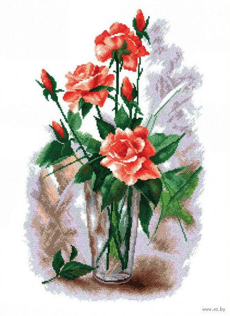 """Вышивка крестом """"Розы в стакане"""""""
