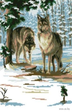 "Вышивка крестом ""Два волка"" (290x410 мм) — фото, картинка"