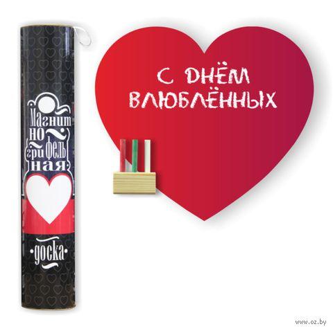 """Магнитно-грифельная доска на холодильник """"Сердце"""" (красная) — фото, картинка"""
