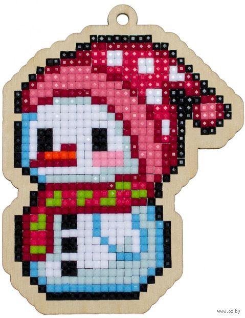 "Алмазная вышивка-мозаика ""Брелок. Маленький снеговик"" (78х100 мм) — фото, картинка"