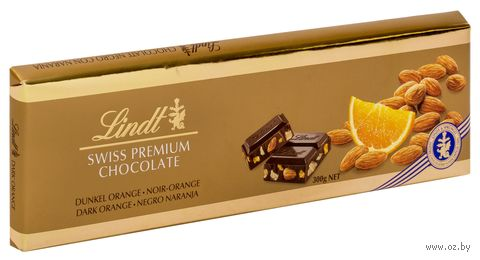 """Шоколад темный """"Lindt. С апельсином и миндалем"""" (300 г) — фото, картинка"""