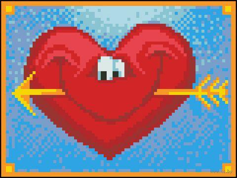 """Алмазная вышивка-мозаика """"Довольное сердце"""" (200x150 мм) — фото, картинка"""