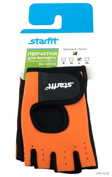 Перчатки для фитнеса SU-107 (L; оранжевые/чёрные) — фото, картинка