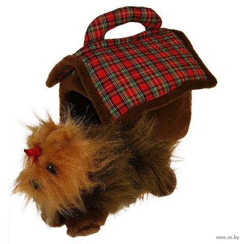 """Мягкая игрушка """"Домик-сумка с терьером"""" (15 см)"""