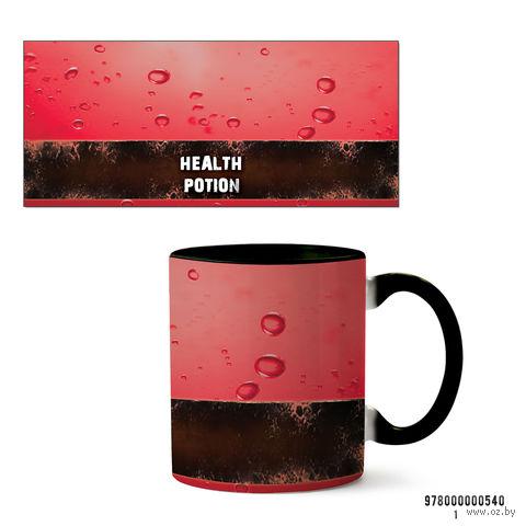 """Кружка """"Health potion"""" (черная; арт. 540) — фото, картинка"""
