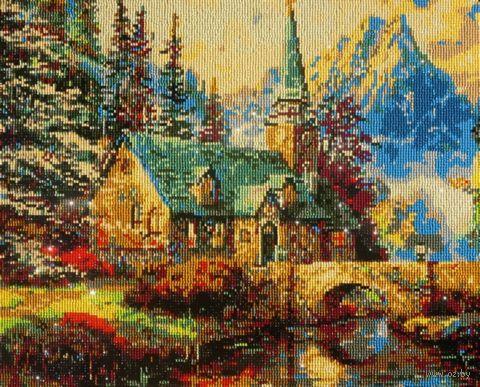 """Алмазная вышивка-мозаика """"Домик в горах"""" (400х500 мм) — фото, картинка"""