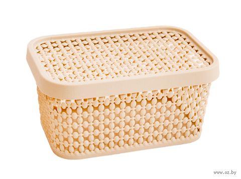 "Ящик для хранения с крышкой ""Пирула"" (9х19х13 см; латте) — фото, картинка"