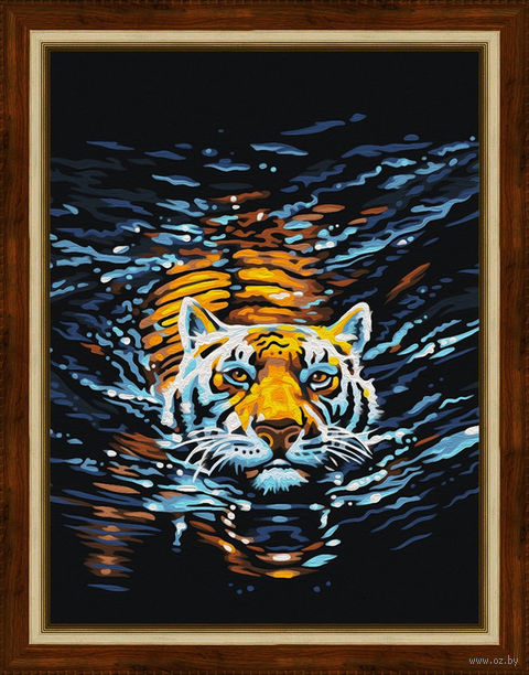 "Алмазная вышивка-мозаика ""Плывущий тигр"" (300х400 мм) — фото, картинка"