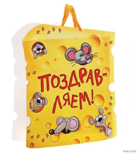 """Пакет бумажный подарочный """"Поздравляем!"""" (27х22х8 см; арт. 10367401)"""
