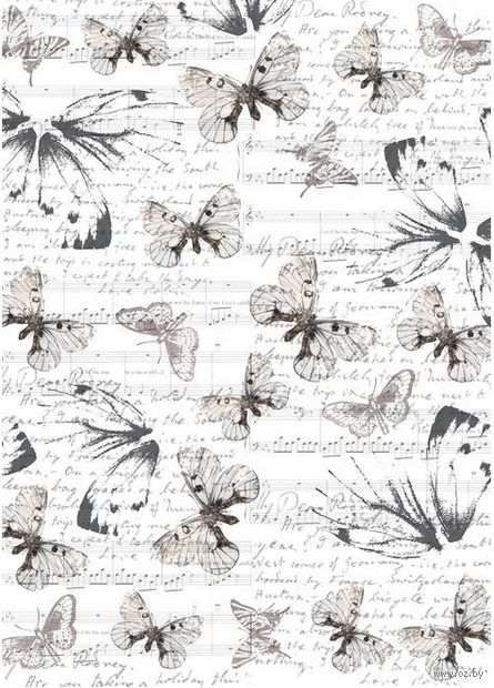 """Пленка-оверлей """"Бабочки и ноты"""" (210х300 мм)"""
