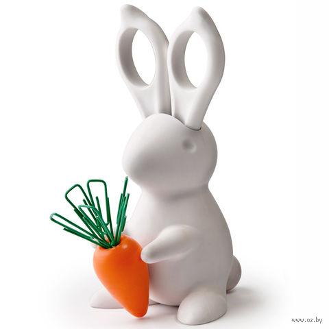 """Ножницы и магнит со скрепками """"Bunny"""" (белые)"""