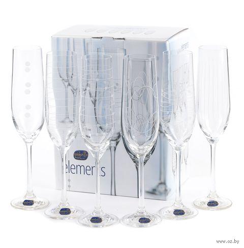 """Бокал для шампанского стеклянный """"Elements"""" (6 шт.; 190 мл) — фото, картинка"""