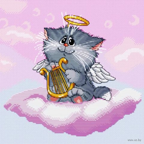"""Вышивка крестом """"Котёнок-ангелочек"""" (255х255 мм) — фото, картинка"""