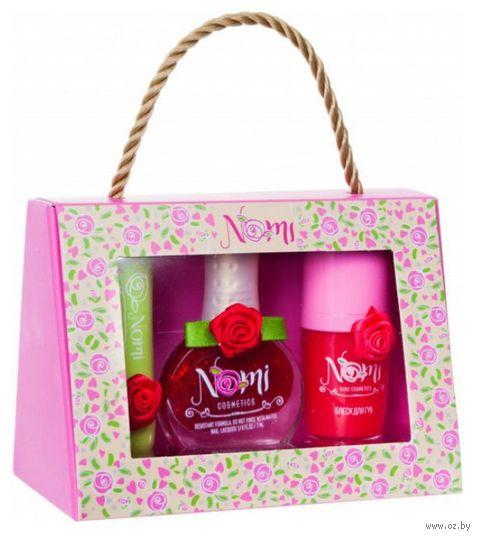 """Подарочный набор детской косметики """"Nomi №28"""" (бальзам для губ, блеск для губ, лак для ногтей) — фото, картинка"""