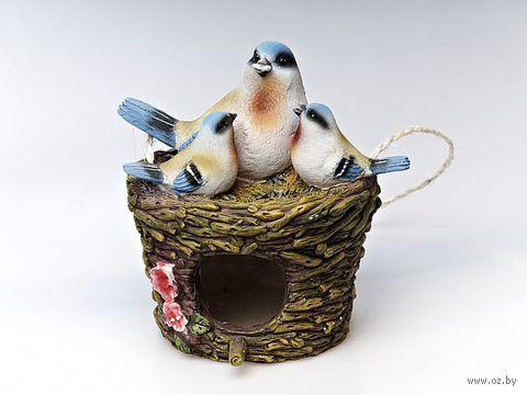 """Статуэтка пластмассовая подвесная """"Птицы в гнезде"""" (18х16х18 см)"""