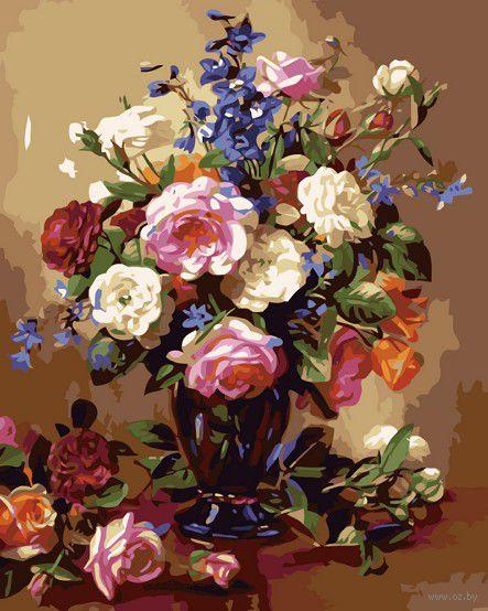 "Картина по номерам ""Розы и пионы"" (400х500 мм) — фото, картинка"