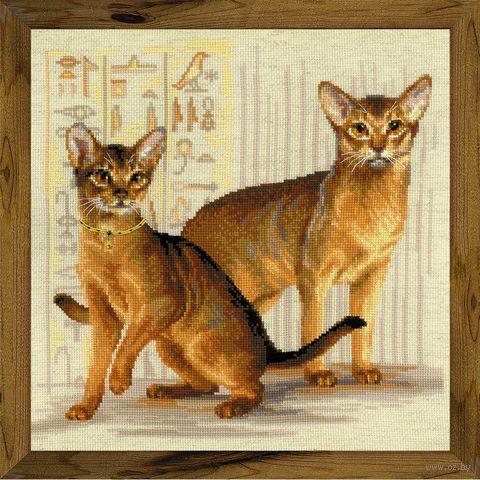 "Вышивка крестом ""Абиссинские кошки"" (400x400 мм) — фото, картинка"