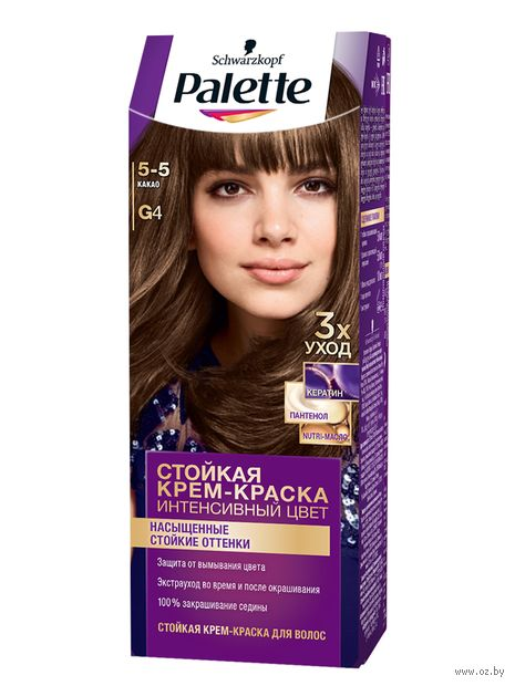 """Крем-краска для волос """"Интенсивный цвет"""" тон: G4, какао — фото, картинка"""