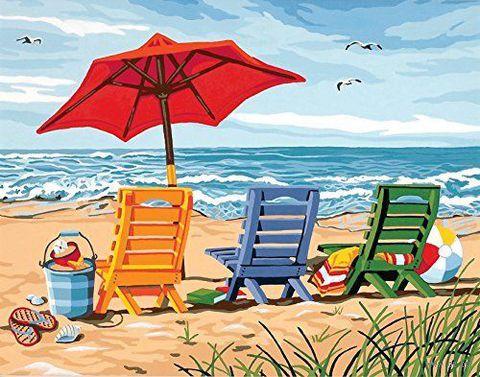 "Картина по номерам ""Трио шезлонгов на берегу"" (280х360 мм; арт. DMS-91316)"
