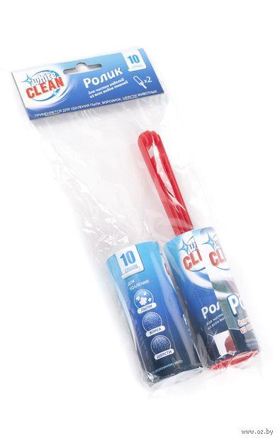 Ролик для чистки одежды бумажный с пластмассовой ручкой (20х4х10 см) + съемная насадка (4х10 см)