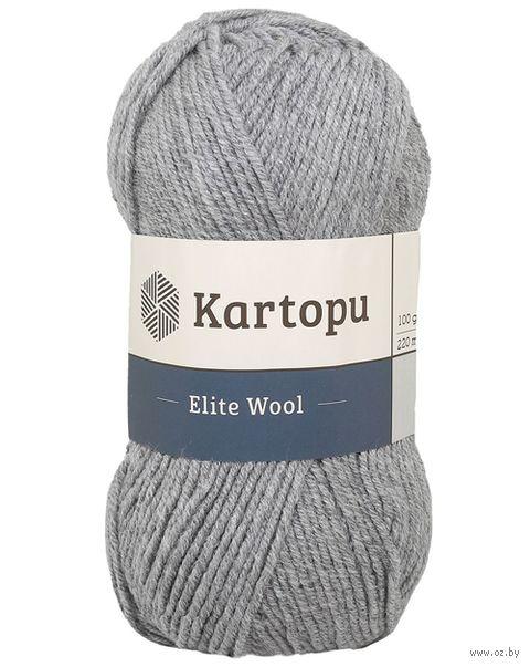 "Пряжа ""KARTOPU. Elite Wool №K1001"" (100 г; 220 м; серый) — фото, картинка"