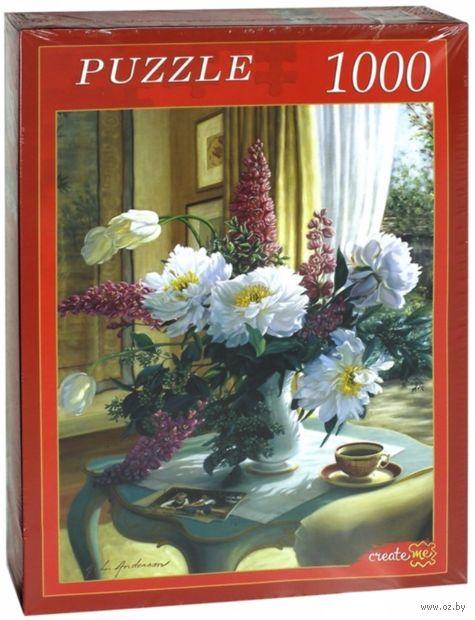 """Пазл """"Цветы на кофейном столике"""" (1000 элементов) — фото, картинка"""