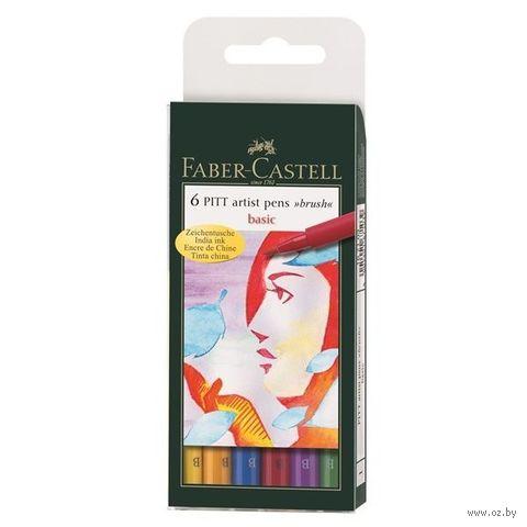 """Набор брашпенов """"Pitt Artist Pen"""" (6 шт.; основные цвета) — фото, картинка"""