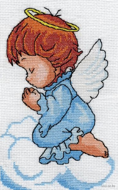 "Вышивка крестом ""Ангелочек"" (120х140 мм) — фото, картинка"