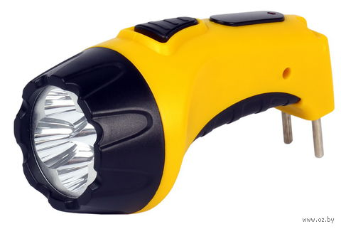 Аккумуляторный светодиодный фонарь 4 LED с прямой зарядкой Smartbuy (жёлтый) — фото, картинка