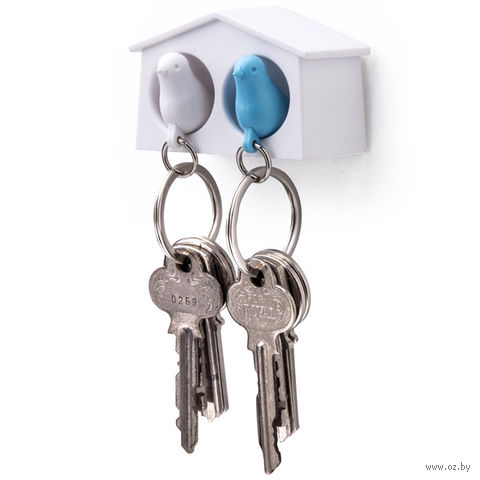 """Брело-свисток и держатель двойной для ключей """"Mini Sparrow"""" (белый/голубой)"""