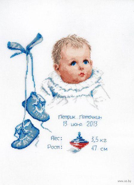 """Вышивка крестом """"Метрика для мальчика"""" (290х240 мм) — фото, картинка"""