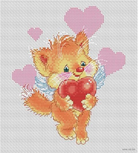 "Вышивка крестом ""Котёнок с сердечком"" (135х165 мм) — фото, картинка"