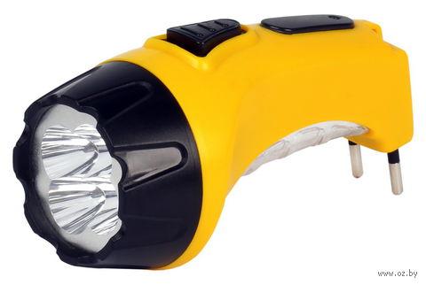 Аккумуляторный светодиодный фонарь 4+6 LED с прямой зарядкой Smartbuy (жёлтый) — фото, картинка