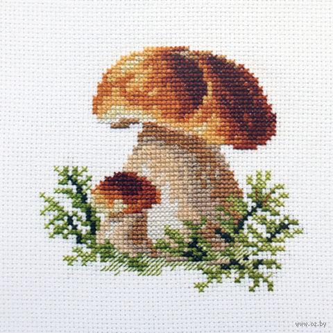 "Вышивка крестом ""Белые грибы"" (100х100 мм) — фото, картинка"