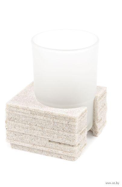 """Подставка для зубных щеток """"Brick"""" (83х83х95 мм; бежевая) — фото, картинка"""