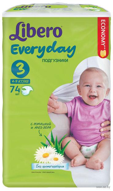 """Подгузники для детей """"Libero Everyday Midi 3"""" (4-9 кг; 74 шт)"""