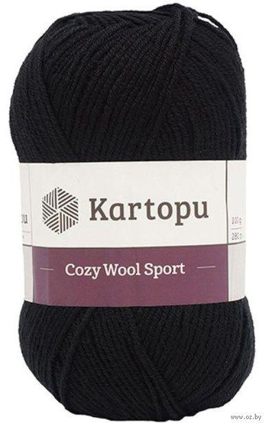 "Пряжа ""KARTOPU. Cozy Wool №K630"" (100 г; 110 м; черный) — фото, картинка"