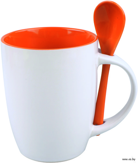 Кружка керамическая с ложкой (320 мл; белый/оранжевый)