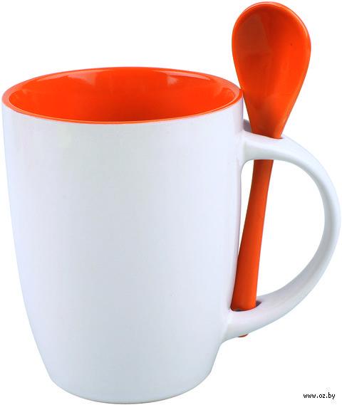 Кружка с ложкой (320 мл, цвет: белый, оранжевый)