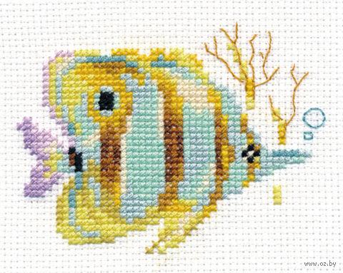 """Вышивка крестом """"Тропические рыбки. Полосатая"""" — фото, картинка"""