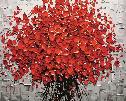"Картина по номерам ""Красный букет"" (400х500 мм) — фото, картинка"