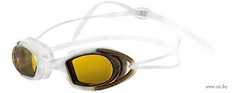 Очки для плавания (бело-оранжевые; зеркальные; арт. N9101M) — фото, картинка
