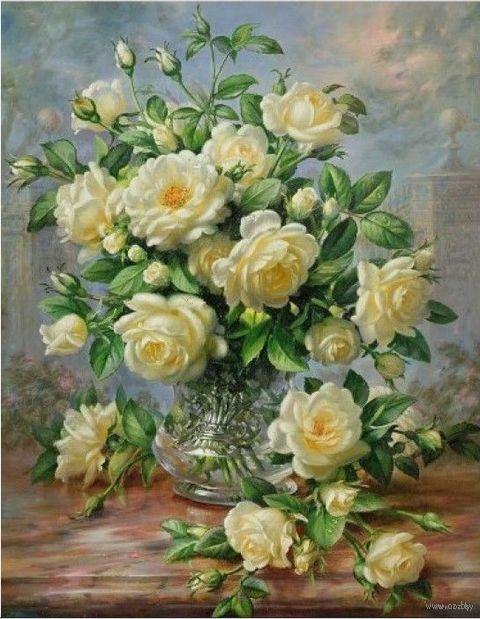 "Алмазная вышивка-мозаика ""Кустовая роза"" (500х640 мм) — фото, картинка"