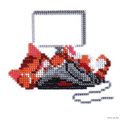 """Вышивка бисером """"Кот с мышкой"""" (120х110 мм) — фото, картинка"""
