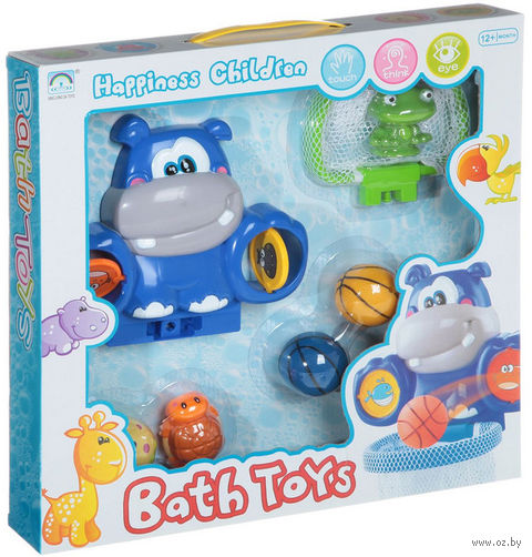 """Набор игрушек для купания на присоске """"Водный баскетбол с бегемотом"""" (арт. Н51151)"""