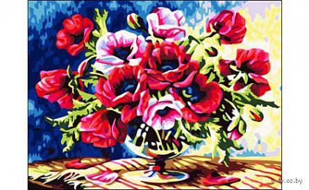 """Картина по номерам """"Красные цветы"""" (400x500 мм) — фото, картинка"""